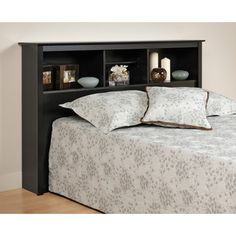 Black Full / Queen Bookcase Headboard - Prepac a finishing touch and storage space to your bedroom with the Full/Queen Bookcase Headboard. Designed to suit any decor, this headboard adds three compartments' worth of storage to your bedro Bookcase Headboard Queen, Bookcase Bed, Black Bookcase, Headboard With Shelves, Black Headboard, Headboard Decor, Black Bedding, Storage Headboard, Storage Beds