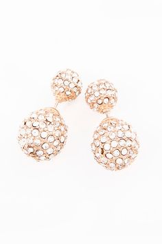 Oval Double-Sided Crystal 360 Earrings (Gold) - My Jewel Candy