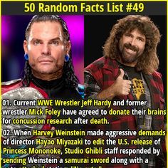Current WWE Wrestler Jeff Hardy and former wrestler Mick Foley have agreed to donate their brains for concussion research after death. Fun Movie Facts, Wtf Fun Facts, Random Facts, Funny Facts, Crazy Facts, Strange Facts, Random Stuff, Interesting Information, Interesting Facts