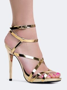 ƱɳỈϑҽƦʂσ ƒҽɱỈɳỈɳσ... - Leave an impression with strappy, gold heels! - Metallic sandals have an ankle strap with a buckle closure on the side a matching tapered heel. - Non-skid sole and cushioned footbed. - Color- Gold S
