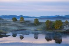 Reflections On A Misty Lake--Hebei Province , China