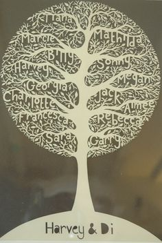 paper cut family tree by By Charlie's Hand https://www.facebook.com/ByCharliesHandpapercuts #paper_art #paper_cutting