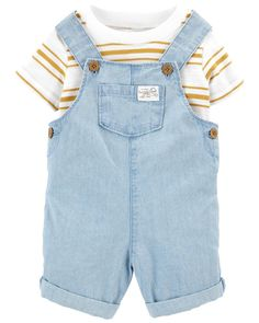 2-Piece Slub Jersey Tee & Chambray Shortall Set | carters.com Baby Boy Outfits, Cute Outfits, Overalls Outfit, Baby Jeans, Carters Baby Boys, Yellow Stripes, Cute Baby Clothes, Chambray, Overall Shorts