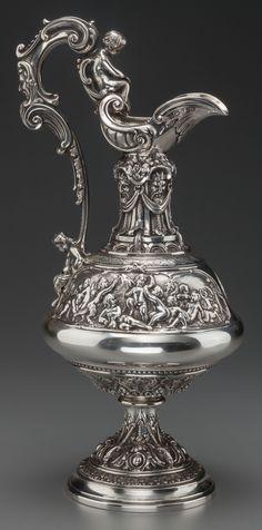 A William & George Sissons Victorian Silver Ewer, Sheffield, England, 1865-66