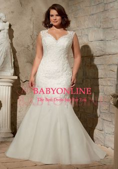 New Spring Cap Sleeve V Neck Mermaid Organza Open Back Plus Size Wedding Dresses 2015 with Lace Up Free Shipping $148