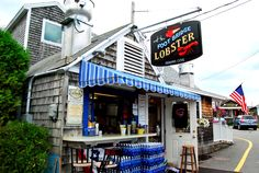 The Lobster Shack is located in the heart of Perkins Cove in Ogunquit, Maine, serving chowder, cheeseburgers, haddock and boiled Maine lobster. Ogunquit Maine, Kennebunkport Maine, Lobster Shack, Map, Architecture, Business, Places, Travel, Inspiration