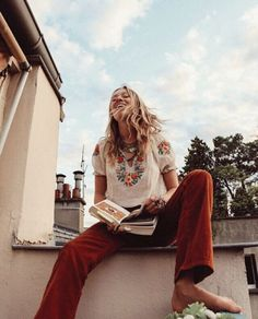 Summer in Paris Stoned Immaculate muse @zippyseven livin' the dream in our vintage embroidered peasant top and 70's corduroys, captured by her lover & partner-in-crime @terenceconnors. #wanderer