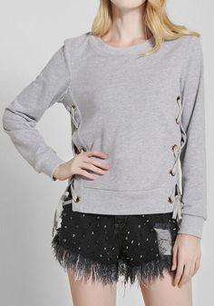 Grey Plain Drawstring Round Neck Streetwear Cotton Pullover Sweatshirt