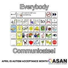 """Image is an Alternative and Augmentative communication screen with a combination of images and words to choose from. The message on the screen reads """"I have something to tell you."""" The caption for the image says """"Everybody Communicates!"""""""