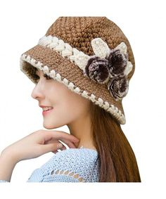 Cheap fur pompom, Buy Quality pompom cap directly from China ear hat Suppliers: Fashion Women Decorated Ears Hat Elegant Lady 2017 Winter Warm Knitted Flowers Fur Pompom Cap Crochet Casquette Bonnet Crochet, Crochet Beanie Hat, Crochet Cap, Beanie Hats, Knitted Hats, Women's Hats, Free Crochet, Ear Cap, Knitted Flowers