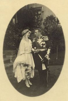 Prince Franz Joseph & Princess Maria Alix of Saxony on their wedding day, May 1921