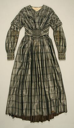 "American silk, plaid dress, c. 1844, length at CB: 52""; length at CF: 51.2""; hem circumference: 115""; gift of Art Worker's Club, 1943"