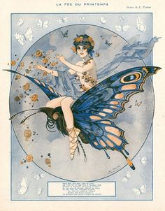 "maudelynn: "" the spring fairy by Leo Fontan "" Butterfly Illustration, Art Deco Illustration, Vintage Artwork, Vintage Posters, Vintage Illustrations, Vintage Books, Art Deco Tattoo, Dragons, Butterfly Fairy"