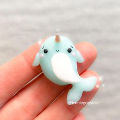 Kawaii narwhal charm, cute narwhal, polymer clay charms, Polymer Clay Charm, necklace jewellery jewelry Keychain planner charm stitch marker