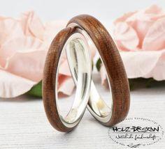 925 Silber Trauringe Ring Holz Breit  Bentwood Eheringe