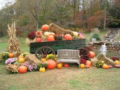 Fall Festival Decorations, Fall Decorations, Fall Wagon Decor, The Great Pumpkin Patch, Pumpkin Display, Flower Cart, Fall Pictures, Fall Harvest, Autumn Inspiration