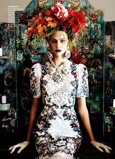 Karlie Kloss for Vogue, 2012  Looking all Frida Kahlo-esque!
