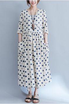Big Pocket Blue Dot Loose Dresses