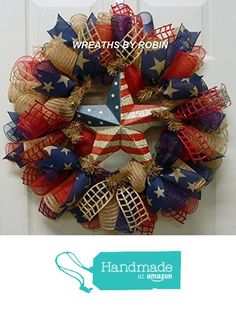 Rustic Patriotic Star Wreath, Deco Mesh Wreath from Wreaths By Robin Patriotic Wreath, Patriotic Decorations, 4th Of July Wreath, Deco Mesh Wreaths, Rustic Wreaths, Burlap Wreaths, Military Wreath, American Flag Wreath, Wreath Crafts