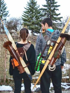 """Multifunctional Tooled Leather Quiver SET """"Bird Scull"""" Holding A Bow, An Axe, A Knife And A Rope With A Detachable Pouch + Add-ons - Bows - Esporte ao Ar Livre"""