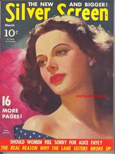 Magazine photos featuring Hedy Lamarr on the cover. Hedy Lamarr magazine cover photos, back issues and newstand editions. Golden Age Of Hollywood, Vintage Hollywood, Classic Hollywood, Star Magazine, Movie Magazine, Life Magazine, List Of Magazines, Vintage Magazines, Hollywood Magazine