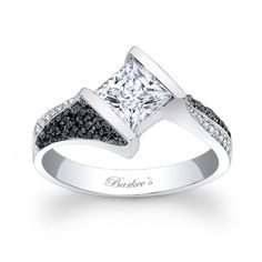 Black and White Diamond Engagement Ring - 7872LBKW