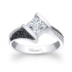 Black and White Diamond Engagement Ring - 7872LBKW