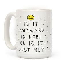 Show off your awkward side with this funny, hand drawn, silly emoji inspired coffee mug! Be awkward and be proud, you goofy weirdo!