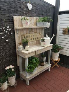 Attraktiver Pflanztisch mit verschiedenen Gartenkräutern