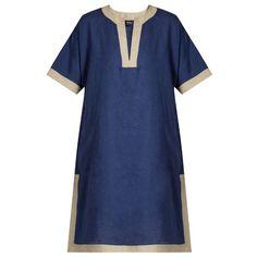 Max Mara Vicenza kaftan ($300) ❤ liked on Polyvore featuring tops, tunics, mid blue, blue tunic, mixed print top, slit tops, print top and slit tunic