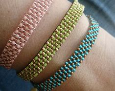 Pretty handmade beaded bracelet! Tribal Bracelets, Bohemian Bracelets, Beaded Bracelets, Bracelet Crafts, Hemp Jewelry, Crystal Jewelry, Handmade Jewelry, Jewelry Shop, Beaded Jewelry