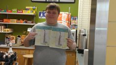 Sparta Mart showing off Marcus' artwork. Twice. Learn more: youtu.be/aq9MGBXQxmY #autism