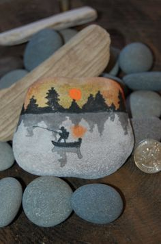 Hand painted stone from the North Shores of by UnderTheCrabtree