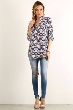 Navy and Pink roll tab sleeve top. {S-M-L, $29 shipped} Purchase here: https://www.facebook.com/photo.php?fbid=10154297276408686&set=oa.1140754535983821&type=3&theater