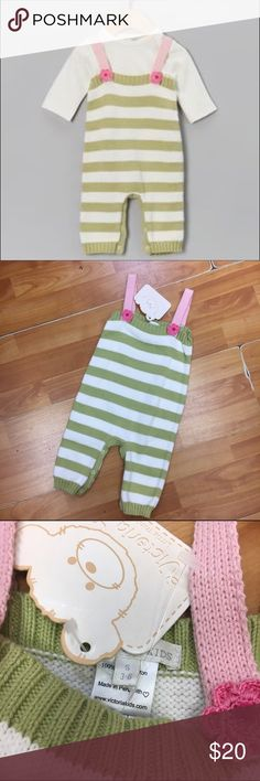 Victoria Kids Sweater Stripe Romper NEW NWT 3-6 Mo Victoria Kids Sweater Stripe Romper NEW NWT 3-6 Mo  Does not include tee.  New with tags.  Snaps around legs.  Straps are sewn in place.  Off white, green and pink.  #new #nwt #sweater #sweaterromper #stripe #stripes #striped #knit #green #cream #pink #victoriakids Victoria Kids One Pieces