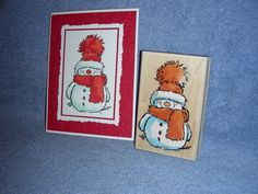 penny black rubber stamp SNOWY-snowman-winter-Christmas-2521K-lot + card #PennyBlack