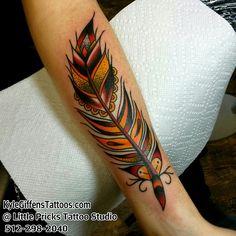 Feather tattoo by Kyle Giffen in Austin Texas at Little Pricks Tattoo Studio. 512-502-4591