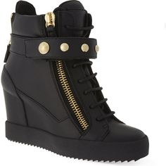 Studded band wedge high-top trainers (€915) ❤ liked on Polyvore featuring shoes, sneakers, black, black leather high tops, black sneakers, wedges shoes, leather high top sneakers and black high tops