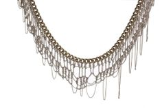 Delicate silver knitted necklace with fringes Bib by NFCrafts