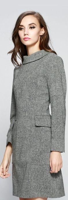 Grey High Neck Mini Dress