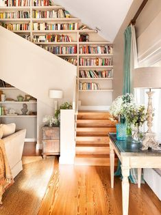 Bookcase stairs, bookshelves on wall, simple bookshelf, staircase bookshelf Staircase Bookshelf, Diy Bookshelf Plans, Bookshelf Design, Diy Bookcases, Simple Bookshelf, Staircase Design, House Staircase, Bookshelf Styling, Staircase Ideas