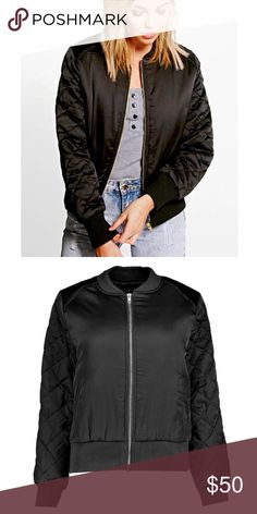 ▪️NEW▪️ Satin Bomber Jacket with Quilted Sleeves Lightweight and stylish this jacket is the perfect weight for chilly fall evenings.  Pockets & quilted sleeves add function and style. NWT & original plastic dust bag. ▪️ Bundle & Save! ▪️ Jackets & Coats
