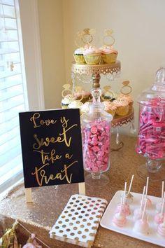 Love is sweet take a treat. Dessert bar. Bridal shower. Candy buffet. Can't bar. Pink and gold wedding. Candy buffet chalkboard.