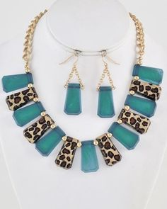 Gold Tone / Teal Acrylic & Brown Leopard Print Metal / Lead Compliant / Necklace & Fish Hook Earring Set