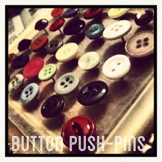 How-To: Button Push-Pins from http://DesignedByBH.com #craft #DIY #button #pushpins