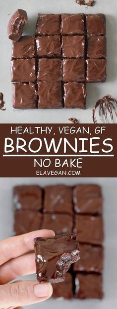 Gluten free - Dairy free - Refined sugar free - Vegan - No bake brownies. These healthy no bake brownies contain just 6 ingredients. The recipe is vegan, gluten free, refined sugar-free, fudgy, chocolatey and these raw vegan brownies are easy to make. Desserts Végétaliens, Healthy Dessert Recipes, Healthy Baking, Raw Food Recipes, Eat Healthy, Vegan Baking, Free Recipes, Healthy No Bake, Vegan Food