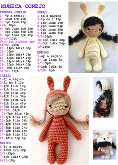 Best 10 We will share a wonderful amigurumi dog free crochet pattern in this article. Crochet Dolls Free Patterns, Crochet Doll Pattern, Amigurumi Patterns, Amigurumi Doll, Doll Patterns, Crochet Rabbit, Crochet Bunny, Cute Crochet, Crochet Toys