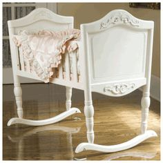 Antique white baby cradle. Next baby we are definitely getting a cradle. i have a bassinet but these are adorable!!