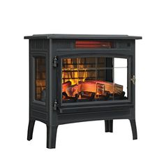 : Duraflame DFI-5010-01 Black Infrared Quartz Electric Fireplace Stove with 3D Flame Effect