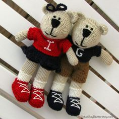 Two Custom Personalized Teddy Bears by cotuitbayknitter